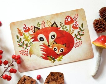 Fox Mom and Pup Postcard, Limited Edition Postcard Postcrossing, Mother's Day Postcard, Woodland