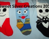 Crochet Pattern Nightmare Christmas Stocking Set - inspired by Nightmare Before Christmas