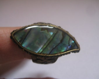 Size 8.5 Bronze Colored Ring with Paua Shell Insert and 4 Leaf Clovers around the Band