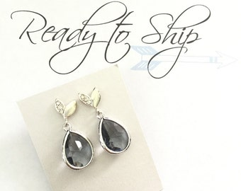 RTS GREY leaf bridesmaid Earring Framed Glass Pendant, gray bridesmaid earring with Cubic Zirconia Ear Posts, sterling silver,