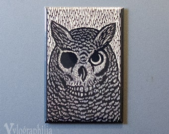 Owl art magnet 2 x 3 inches