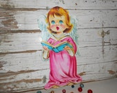 Vintage Pink Christmas Angel Cut Out, Vintage Christmas Angel CutOut, Wall Hanging Angel