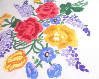 Square fabric of worked crewel work including Roses, lilacs and lots of Florals
