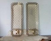 Vintage gold metal shelf pair quatrefoil pattern 1950s 1960s hollywood regency style elegant