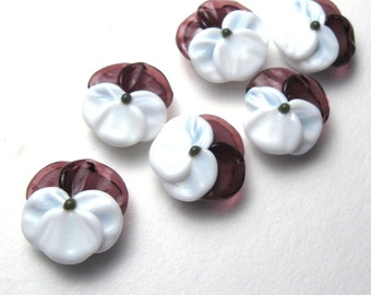 Lampwork Glass Beads, Purple and Pink Pansy Flowers, handmade unique jewelry supplies