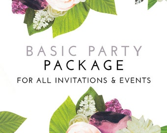 Matching Basic PARTY PACKAGE for Any Invitation Design in the Shop - Print Your Own Digital PDF'S