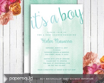 Girl or Boy Watercolor Baby Shower Invitation - Customizable with your Information - Digital DIY Printable File -  Item 171