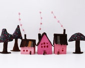 Miniature House ornament, Pink Felt houses with trees, Housewarming gift, Home decor,