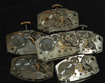 Vintage Antique Rectangle Watch Movements  Steampunk Altered Art Assemblage CD 21