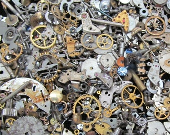 2 1/2 oz 70 grams Vintage Watch movements parts cogs gears Steampunk   Z 49
