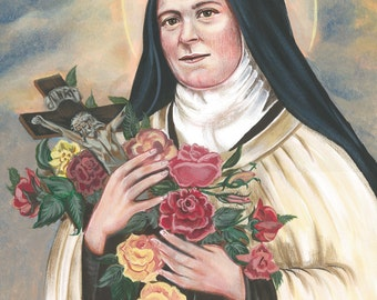 "St. Therese of Lisieux, Doctor of the Church, 8""x10"" & 11""x14"" Prints on White Card Stock, taken from my Acrylic Painting, Catholic Art,"