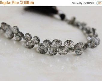 Clearance SALE Rutilated Quartz Gemstone Briolette Black Faceted Heart 6 to 6.5mm 26 beads