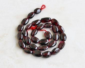 Garnet Gemstone Briolette Smooth Oval Nugget Center Drilled 10 to 12mm 14 beads 1/2 strand