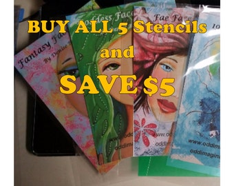 Stencils Art Face | Buy ALL 5 Stencils  and SAVE 5|  Original |Art Journals | Mixed Media Art | Resuable | Oddimagination | Denise Baldwin