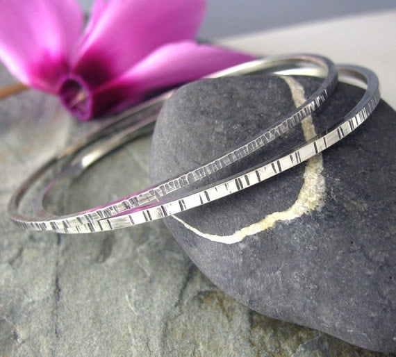 Set of 2 Sterling Silver Bangle Bracelets - Silver Bangle set - Textured Sterling Bangles - size Large Medium or Small