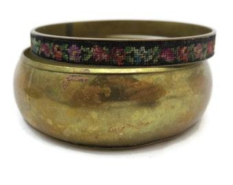 Brass Bangle Set - Gypsy Boho Bangle Bracelets, Tapestry