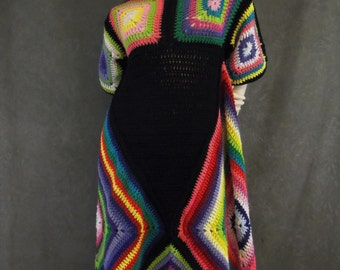 Plus Size Dress,Granny Square Dress,Women's Cothing,Multi-colored Dress,Hippie Dress,Vintage style