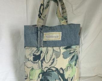 Vintage fabric tote, market bag in denim
