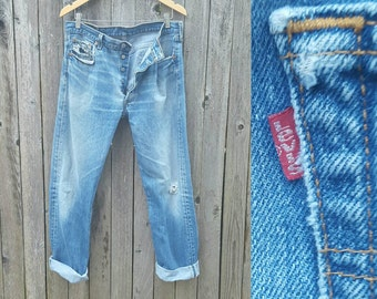 "Vintage Levi's Jeans  //  Vtg 90s Made in the USA Levi 501xx Trashed Hige Distressed Indigo Denim Button Fly Jeans w/ Holes //  34"" waist"