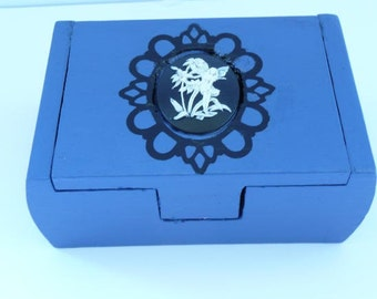 Wood Music Box with Fairy Cameo