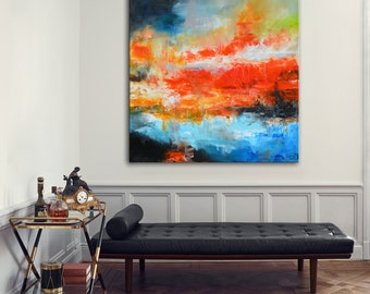 Original acrylic red painting, Large blue and red painting, abstract painting on canvas, ready to hang, Huge 36x36 painting, blue and red