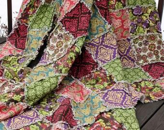 Fiona's Fancy Queen Rag Quilt, Bedding, Bed Size, Large Blanket, Damask, Floral, Pink, Purple