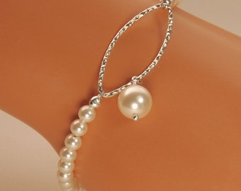 Pearl Bracelet, Bridesmaid Bracelet, Wedding Bracelet, Mother of Bride Gift, Mother of Groom Gift, Swarovski Pearls in Sterling Silver