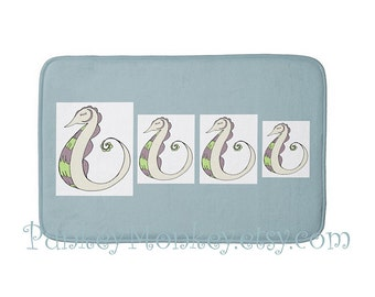 Sea horses bath mat rug memory foam bathroom rug for floor 3 sizes to choose from made to order