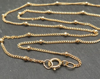 18 Inch 14K Gold Filled Satellite Chain Necklace with Spring Clasp (CG8177a)