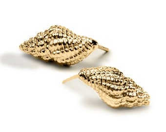 14 K Gold Sea Shell Earrings , Nautical Earrings , Gold Shell Stud Earrings , Gold Sea Shell Post Earrings , Ocean Earrings