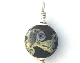 Lamp Work Eye Bead in Browns, #3 Small Pendant