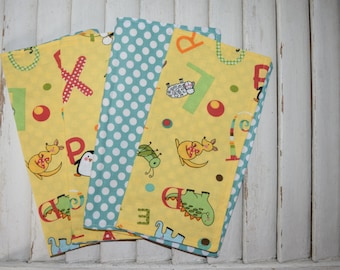 Set of 4 2 ply Children's Cloth Napkins/Lunbox Napkin  Animal and Alphabet Print