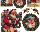 Made In Italy Rice Paper Decoupage Sheet Vintage Images Santa Claus Christmas  RCP-FS-77
