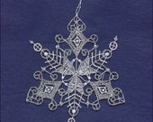 Germany Woven Cotton Thread Christmas Snowflake Ornament For Crafting Silver & White  LHS027