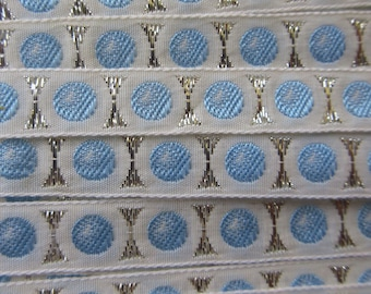 Italy 2 Yards Vintage Cotton Edging Embroidered Folkloric Fabric Sewing Trim Blue And White Silver Metallic IT 30