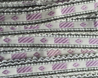 Italy 3 Yards Vintage Woven Edging Fabric Sewing Trim Lavender Black And White  IT 47