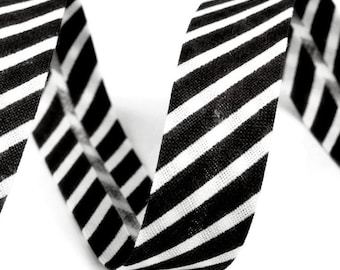 Czech Republic 3 Yards Cotton Single Fold Bias Binding Tape 14mm  Black Stripe