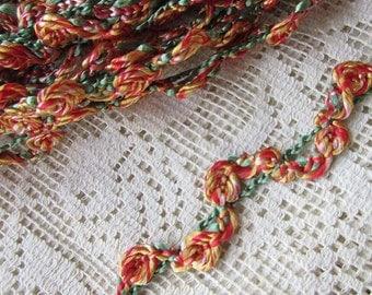 2 Yards Wavy Little Vintage Rose Ribbon Trim Ribbon Braid Orange Yellow Green VT 120