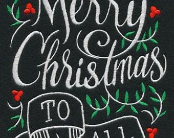 Chalkboard Look Christmas Embroidered Kitchen Tea Towel