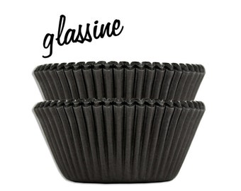Black Glassine Baking Cups - 50 solid black paper cupcake liners
