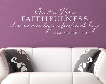 Great is His Faithfulness - Inspirational Wall Decal - Scripture Wall Decal - Bible Verse Lamentations - Christian Quote