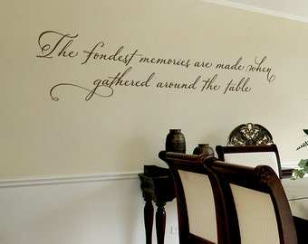 Dining Room Wall Decal   The Fondest Memories Are Made When Gathered Around  The Table