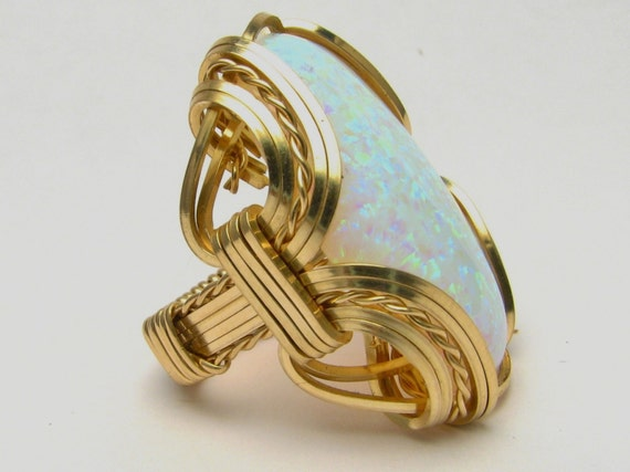 Opal Cabochon Ring Wire Wrapped Ring 14kt Yellow Gold Filled Handmade Victorian Synthetic Opal Cabochon Ring