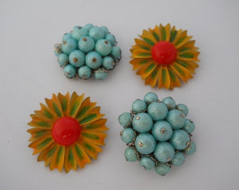 Two Pairs Vintage Earring Parts Reuse Repurpose Destash Enamel Flowers Orange Yellow Green Blue Beaded 1960's Jewelry Parts