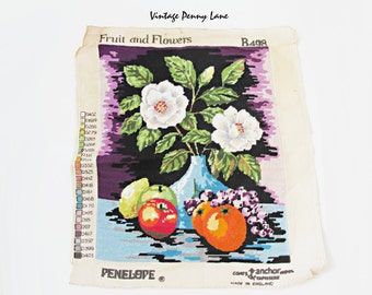Completed Vintage Needlepoint Tapestry, Fruit and Flowers