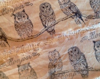 Le French Owl  - Distressed Ribbon - Hand stamped ribbon trim. Stamped with or without  Bonjour