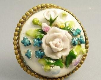 Vintage Victorian Porcelain Flower Brooch