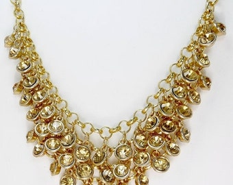 Layered Headlight Topaz Rhinestone Necklace Statement Jewelry
