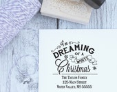 Personalized Christmas Stamp - Dreaming of A White Christmas, Holiday Stamp, Vintage, Christmas Stamp, Rubber Stamp, Wooden Stamp, Custom