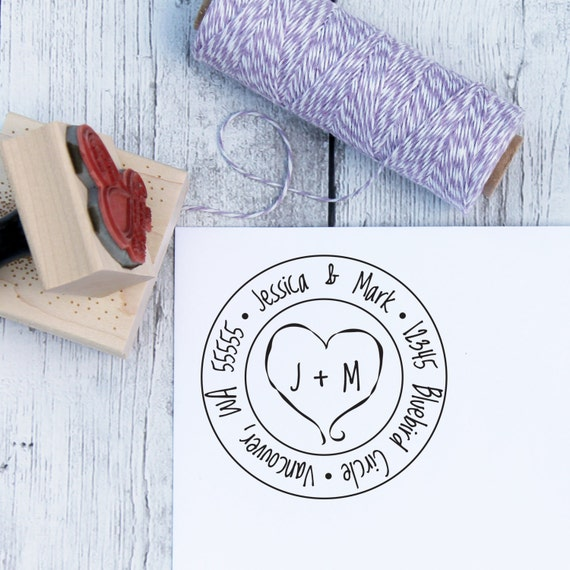 Wedding Address Stamp - Carved Heart, Custom Wedding Stamp, Heart Stamp, Wooden Stamp, Self Inking Stamp, Rubber Stamp